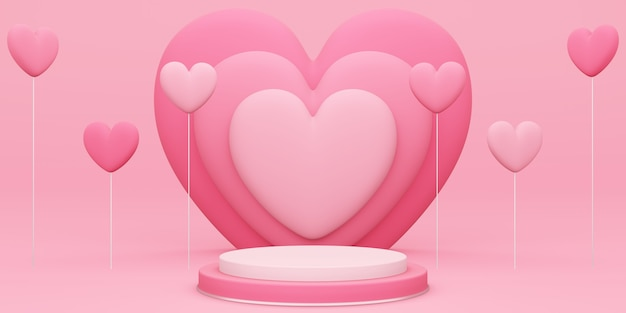 バレンタインデー、赤い空のスタジオルームと丸い表彰台または台座の3dイラスト、後ろにハートのオーバーラップとハート型の風船が浮かんでいる製品の背景、愛のコンセプトディスプレイのモックアップ