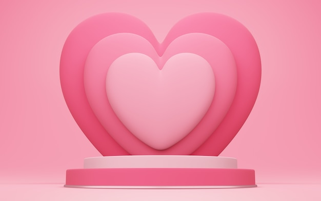 バレンタインデー、赤い空のスタジオルームと丸い表彰台または台座の3dイラスト、後ろにハートが重なっている製品の背景、愛のコンセプトディスプレイのモックアップ