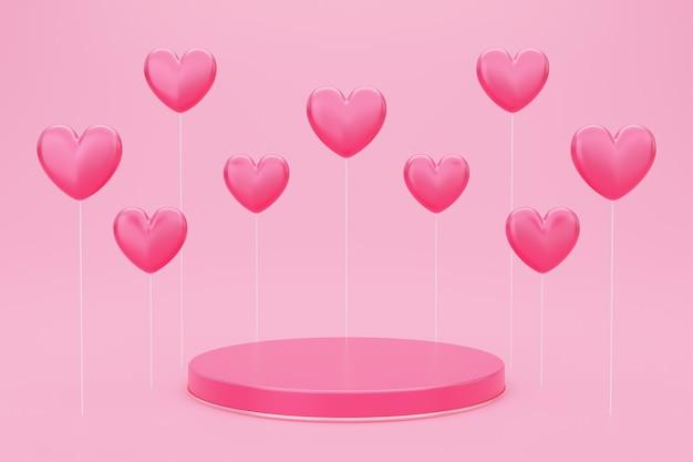バレンタインデー、赤い空のスタジオルーム、丸い表彰台または台座の3dイラスト、ハート型の風船が浮かんでいる製品の背景、愛の概念の表示のためのモックアップ