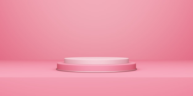 Valentine's day, 3d illustration of round podium or pedestal with pink empty studio room, product background, mockup for love concept display