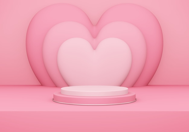 Valentine's day, 3d illustration of round podium or pedestal with pink empty studio room, product background with heart overlap behind, mockup for love concept display