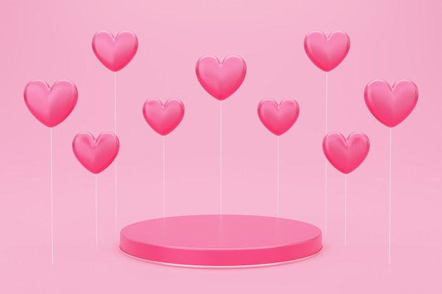 Valentine's day, 3d illustration of round podium or pedestal with red empty studio room, product background with heart shaped balloon floating, mockup for love concept display