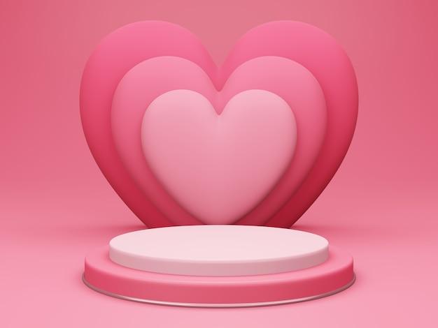 バレンタインデー、赤い空のスタジオルームのある3dラウンド表彰台または台座、後ろにハートが重なっている最小限の製品背景、愛のコンセプトの表示のためのモックアップ