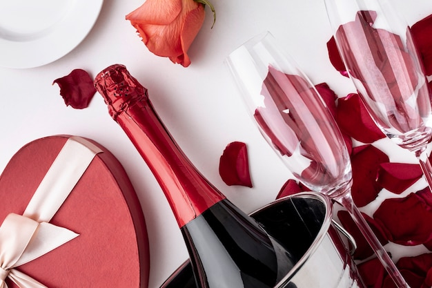 Valentine's day arrangement with champagne and glasses close-up
