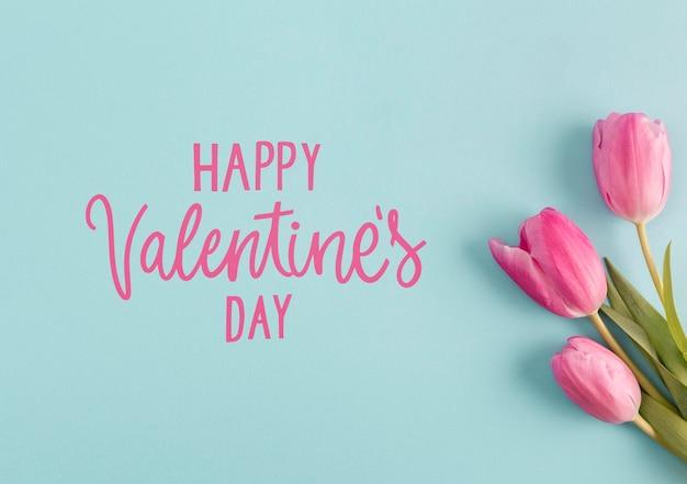 Valentine's day arrangement with text