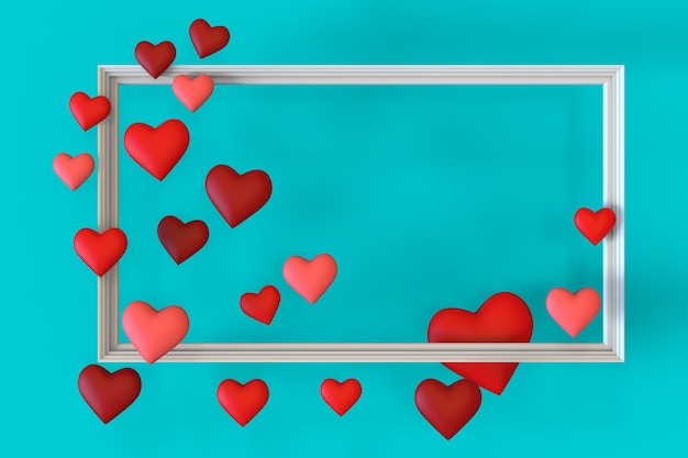 День святого валентина фон из красных сердечек вокруг серой цветовой рамки на настраиваемом цветовом фоне с копией пространства. концепция любви и дня святого валентина. 3d иллюстрация