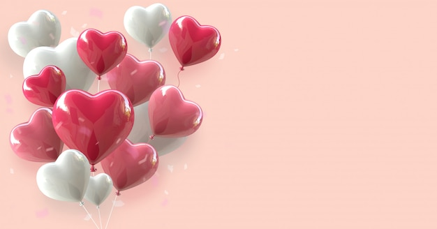Valentine's day background with heart balloon 3d rendering floating on pink