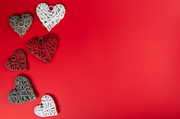 Valentine's day background with hearts, top view, copy space.