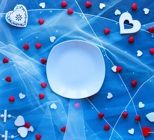 Valentine's day background, with hearts and various romantic elements