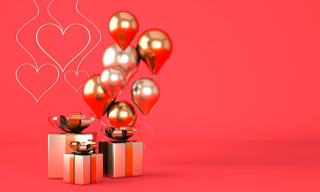 Valentine's day background with realistic festive gifts box. 3d render