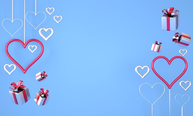 Valentine's day background with realistic festive gifts box. 3d render.