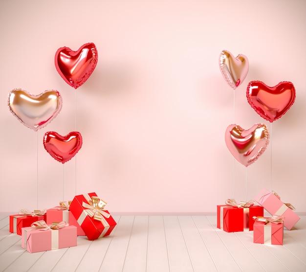 방에 선물 상자 발렌타인 풍선. 3d 렌더링 그림.