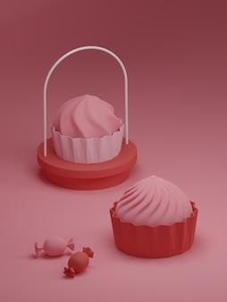 ケーキと甘い背景のバレンタインデーのバナー。
