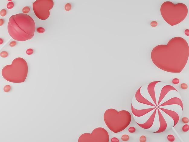 キャンディー、ロリポップ、ハートの背景とバレンタインデーのバナー。