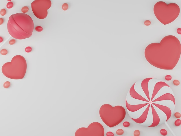 Valentine's day banner with candy, lollipop and heart background.