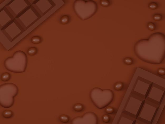 チョコレートと甘い背景のバレンタインデーのバナー。