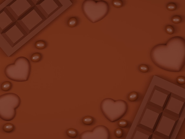 Valentine's day banner with chocolate and sweet background.