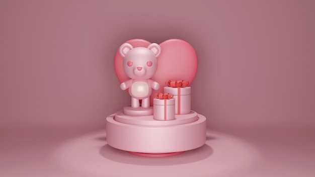 Valentine's day banner with cute bear on music box.