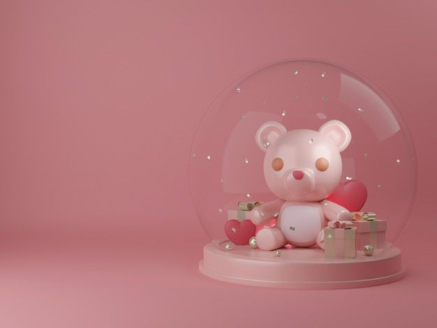Valentine's day banner with cute bear in snow globe.
