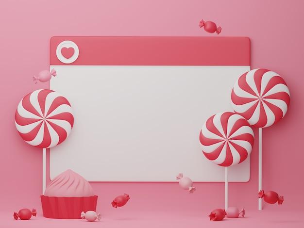 デザインテンプレートの装飾が施されたバレンタインデーのバナー。 3dレンダリング。