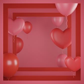 선물 상자와 하트 배경 발렌타인 배너.