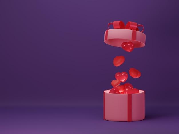 Valentine's day banner with gift box and dark background.