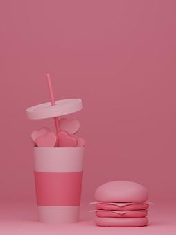 ピンクの背景にガラスのハンバーガーとハートのバレンタインデーのバナー。 3dレンダリング。