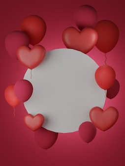 ハートと赤い背景のバレンタインデーのバナー。