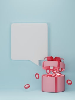 Valentine's day banner with hearts in gift box.