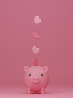 ピンクの背景に貯金箱とバレンタインデーのバナー。 3dレンダリング。