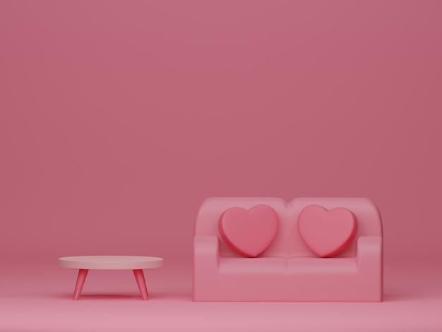 ピンクの背景にレトロな家具とバレンタインデーのバナー。 3dレンダリング。