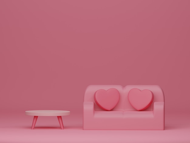 Valentine's day banner with retro furniture on pink backdrop. 3d rendering.