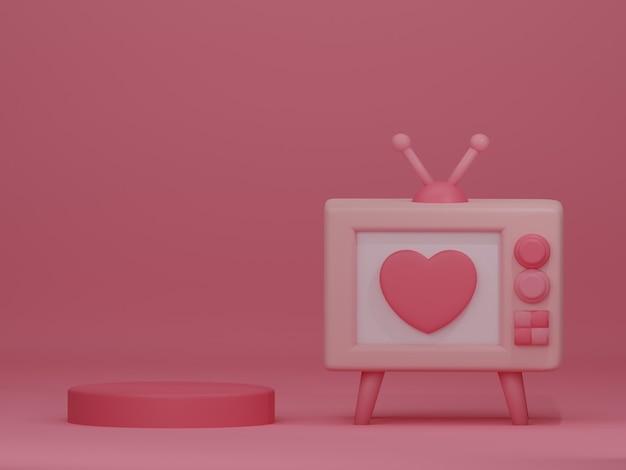 ピンクの背景にレトロなテレビとバレンタインデーのバナー。 3dレンダリング。