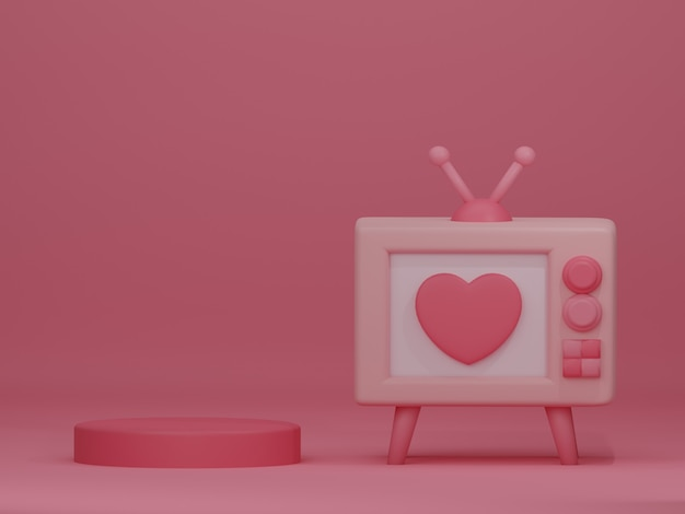 Valentine's day banner with retro television on pink backdrop. 3d rendering.