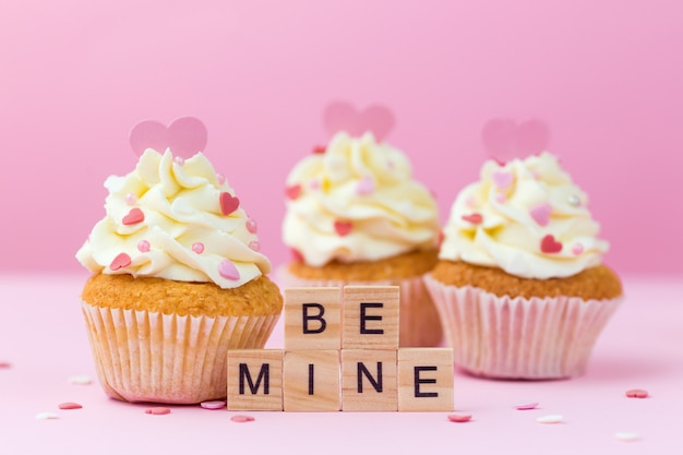 Valentine's day. be mine. cupcakes decorated hearts