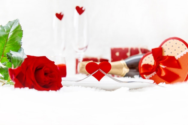 Valentine's day. beautiful background greeting card with a rose. selective focus.