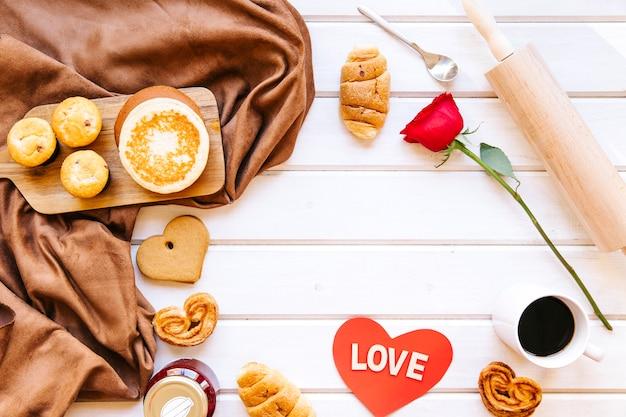 Valentine's day breakfast stuff composition