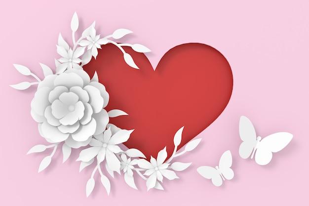 バレンタインデーのカードデザイン。 3dレンダリング。
