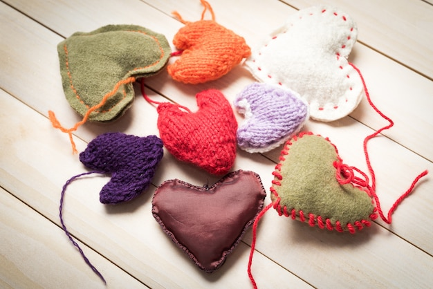 Valentine's day. colorful knitted hearts.
