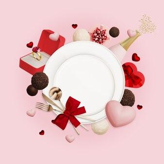 칼 붙이, 접시, 하트, 결혼 반지와 샴페인 병 발렌타인 구성
