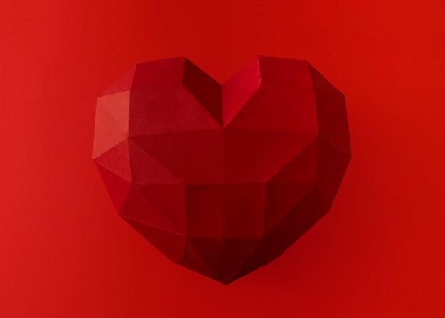 발렌타인 데이 개념. 큰 붉은 다각형 heart.unusual 심장