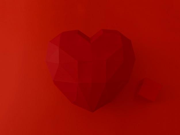 발렌타인 데이 개념. 현재와 큰 붉은 특이한 마음