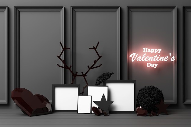 Valentine's day concept black decorate wall with black hearts with black star and decoration 3d rendering