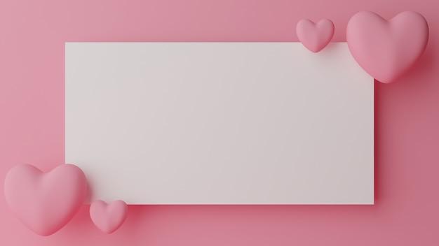 발렌타인 데이 개념. 핑크 파스텔 바탕에 핑크 하트와 빈 백서. 3d 렌더링