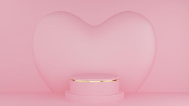 발렌타인 데이 개념. 핑크 하트와 원 연단 핑크 파스텔 색상과 골드 가장자리.