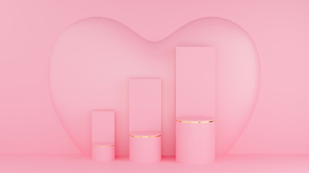 バレンタインデーのコンセプト。サークルポディウムピンクパステルカラーとゴールドエッジ、3ランクとグラフとピンクのハート。