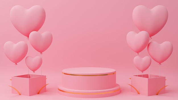 Valentine's day concept. circle podium pink pastel color with gold edge, pink heart balloon on close gift box.