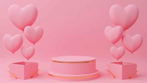 발렌타인 데이 개념. 골드 가장자리, 가까운 선물 상자에 핑크 하트 풍선 원 연단 핑크 파스텔 색상.