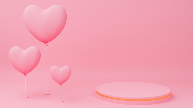 Valentine's day concept. circle podium pink pastel color with gold edge, pink heart balloon.
