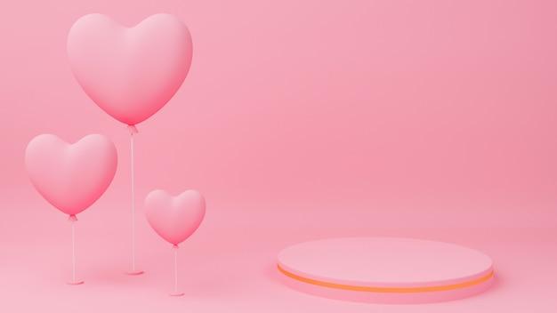발렌타인 데이 개념. 골드 가장자리, 핑크 하트 풍선 원 연단 핑크 파스텔 색상.